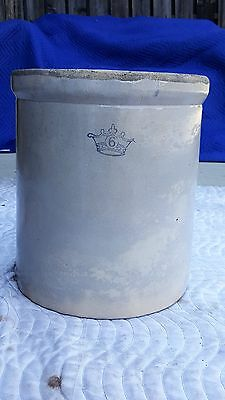 Antique Vintage Robinson Ransbottom 6 Gallon Crock Blue Crown Pottery Stoneware