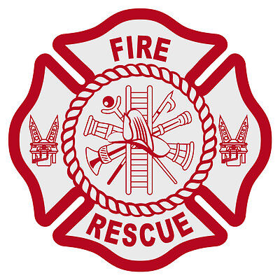 """Fire Rescue Reflective Red Maltese Cross Firefighter Decal Sticker 3"""" approx."""