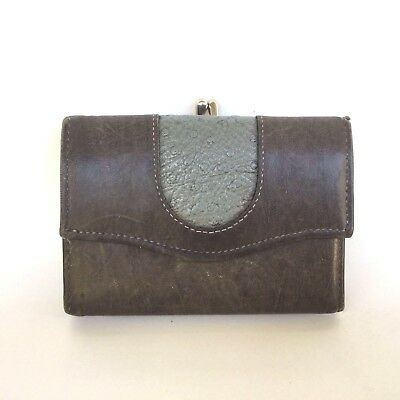 Vintage Princess Gardner Wallet, Gray Leather Trifold with Coin Purse