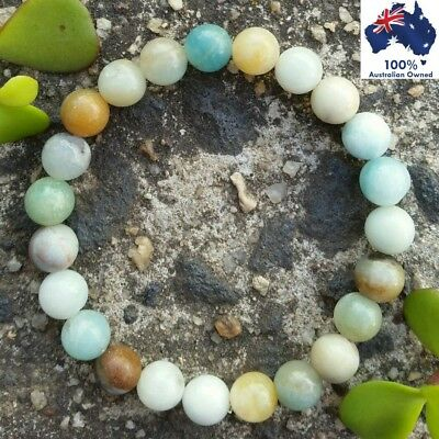 AMAZONITE Bracelet Natural Gemstones Chakra Energy CRYSTAL HEALING Stone Beads