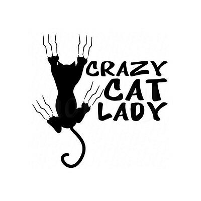 Funny Crazy Cat Lady Vinyl Car MotorcycleWall Stickers Decals Car Styling Black
