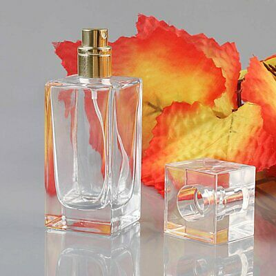 50ml Empty Glass Perfume Spray Bottle Atomizer Refillable Rectangle Gift Travel