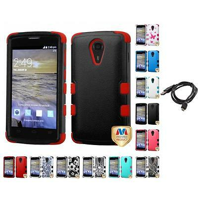 For ZTE Uhura N817 Hybrid TUFF IMPACT Phone Case Hard Rugged Cover + Cable