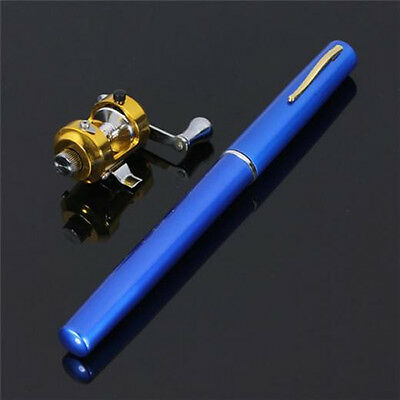 Mini Portable Pocket Fish Pen Tool Fishing Rod Pole Reel Trolling Combos Blue