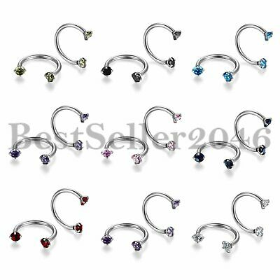 9pairs Stainless Steel CZ Horseshoe Bar Ear Nose Lip Ring Piercing 8mm/10mm/12mm