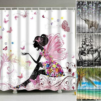 Waterproof Polyester Fabric Bathroom Shower Curtain Sheer Decor Panel 12 Hooks