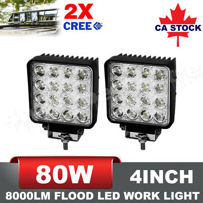 Pair 4inch 80W CREE LED Work Light Bars Flood Lamp Offroad 4×4 Atv Tractor Truck