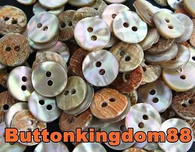 LOT 24 18L 11.4mm Natural Real Abalone Shell Shirt Button Antique Bouton Knopf