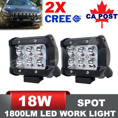 2x 4 inch 18W LED Light Bar  Work Spot Lamp Offroad Boat UTE Car Truck SUV