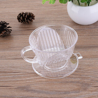 Reusable Clear Coffee Filter Cup Plastic Cone Drip Dripper Maker Brewer Holder