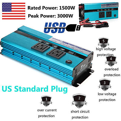 1500 Watts DC to AC Car Power Inverter Charger  USB Port & Outlets 110V