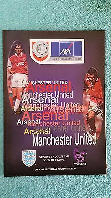 1998 - CHARITY SHIELD PROGRAMME - ARSENAL v MANCHESTER UNITED