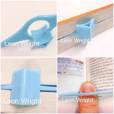 2 x Thumb Book Page Holder And Bookmark Blue Plastic For Book Magazine Paperback