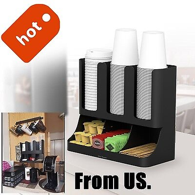 Cup And Lid Holder Organizer Coffee Rack Storage Office Wall Caddy Station NEW