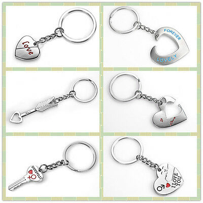 Personalised Keyring Novelty Love Gift Engraved Name Keychain Cupid Heart Key