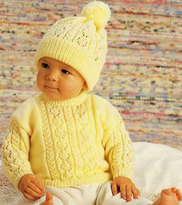 Knitting Pattern Baby's for 4 Ply Lace & Cable  Sweater and Hat 31-56 cm  (74)
