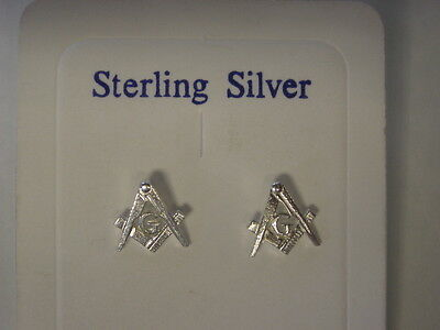sterling silver masonic stud earrings UK MADE