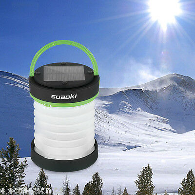Portable 3-in-1 LED Solar Panel Camping Lantern Power Bank Tent Lamp Light Torch