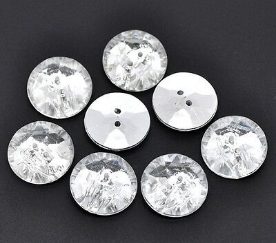 6 Acrylic Faux Crystal diamond buttons 25mm  silver plated back
