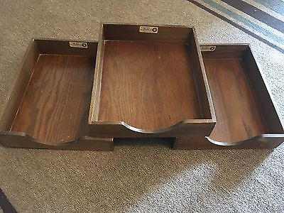 (3) *vintage* Hedges Files Wooden Trays Dovetail Construction (1721)...nice!