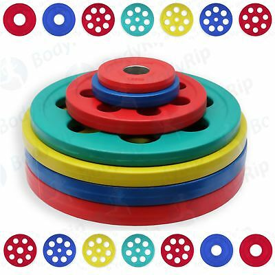 """BodyRip Rubber Encased Cast Iron Olympic 2"""" 50mm Weight Plates  Disc 7 Hole Grip"""