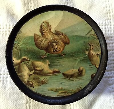 Fab! Antique Victorian Spool Holder  Dispenser Chicken Hens Chicks Litho Clark's