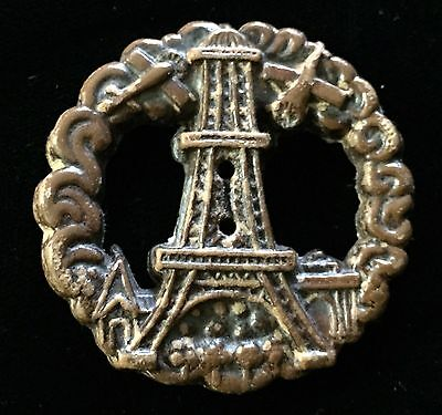 Wonderful Scarce Antique Collectible Burwood Button With Eiffel Tower