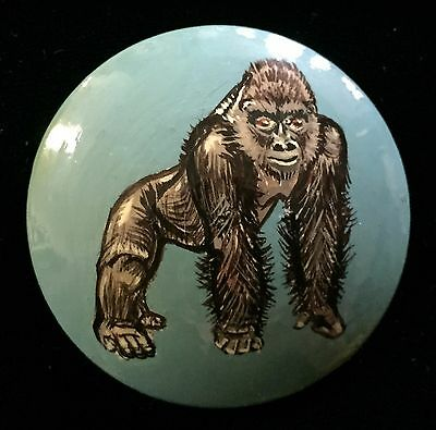 Wonderful Extra Large Wood Laquerware Button With Hand Painted Gorilla