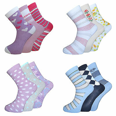 3 Pairs Womens Ladies Girls Cotton Rich Socks Coloured Design Comfort Grip