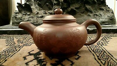 Vintage Chinese Yixing Zisha Teapot With Inlay Flower Design