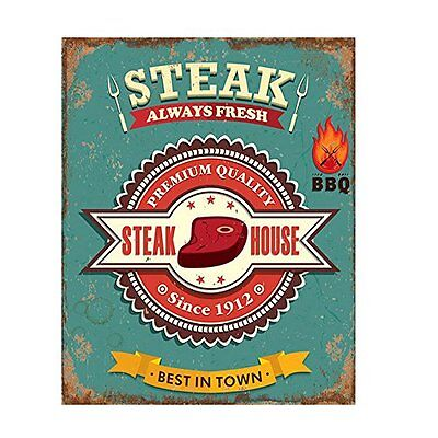 "Targa decoro in latta stile Vintage ""Steak House"", cm 20x25"