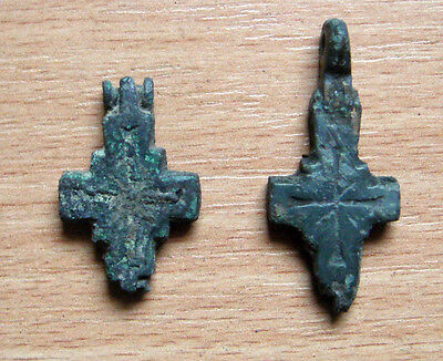 Antique Viking CROSSES Pendant ENKOLPION Bronze 8-10 A.D.