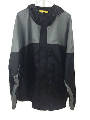 Work N Sport Hooded Rain Jacket Breathable Black Gray Size 3X