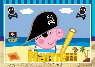 George Pig Pirate Personalised Placemat