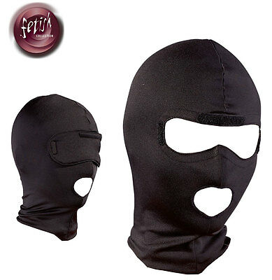 Maschera passa montagna Fetish Bondage Head Mask Hood Blind Black