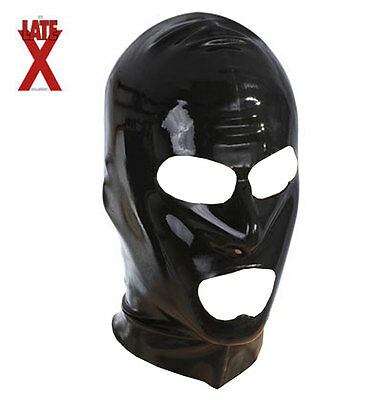 Maschera in lattice Fetish Extreme Bondage Head Mask Latex Black