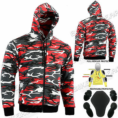 MOTORCYCLE CAMO HOODIE FULLY LINED WITH DuPont™ KEVLAR® ARAMID FIBRE RED