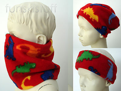 Infant baby boys girls RED ANIMAL DINOSAUR DINO NECK WARMER fleece scarf snood