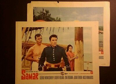 Rare 1961 Lobby Cards - Samar, Gateway to Hell -11x14, George Montgomery,(#2,#6)