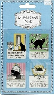 Set 4x CAT MAGNETS - WITTY Whiskers+Paws Fridge MAGNETS - CAT LOVER Novelty GIFT