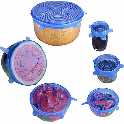 4 Color 6Pcs Silicone Stretch Lid Pot Cans Dish Wraps Covers Keep Food Fresh Set