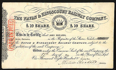 Navan and Kingscourt Railway Co., £10 share, 1871