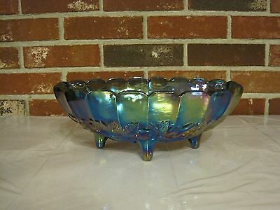 Vintage Iridescent Blue Indiana Carnival Oval Footed Glass Fruit Bowl