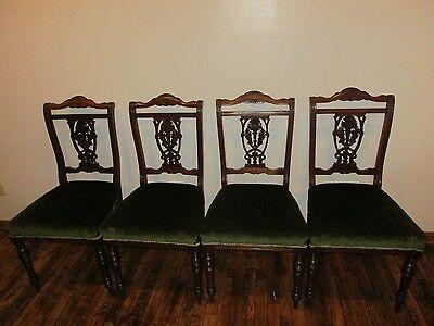 Set  Of 4 Victorian Walnut Dining Or Parlor Chairs