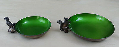 2 Vintage Reed & Barton Green Enamel Squirrel & Leprechaun Nut Candy Dish Bowls