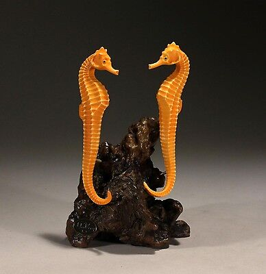 SEAHORSE DUO Statue New Direct from John Perry Orange 7in tall Statue Figurine