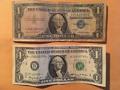 Two (2) US $1 Star Notes, 1957 Silver Certificate & 1963-A Federal Reserve Note