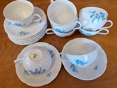 coffee/tea cups &  saucers, vintage Bavarian cups , set of 8 blue/white cups