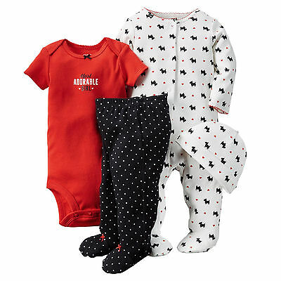 Carter's Girls' 4-Piece Hat, Footed Coverall, Bodysuit&Footed Pants Set,Size 6 M