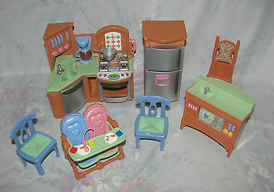 Fisher Price Loving Family Dollhouse Kitche Set - Sounds, Fridge, High Chairs, +
